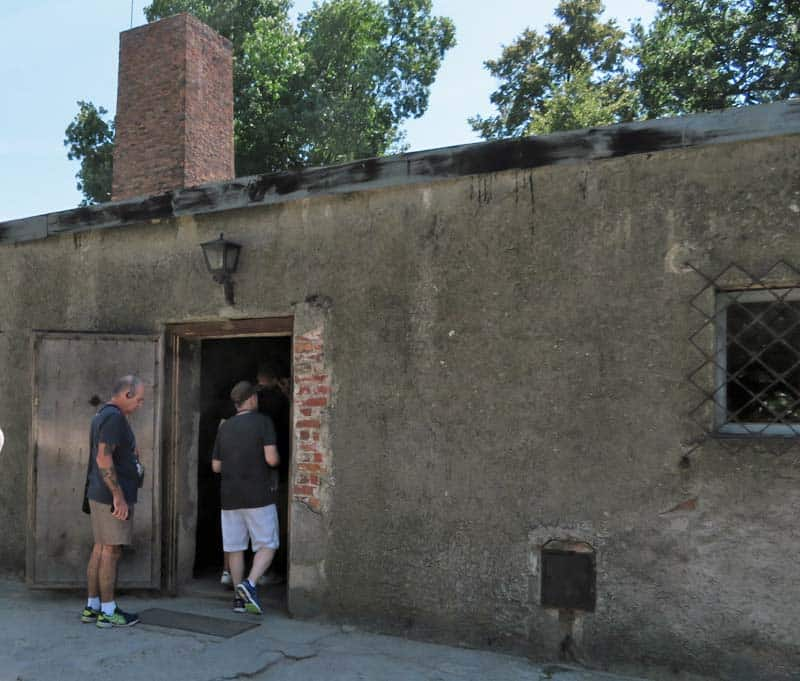 Makeshift gas chamber at Auschwitz.