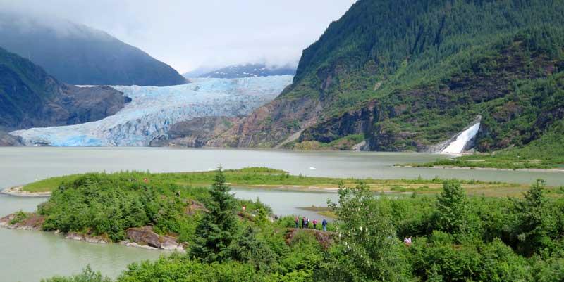 Mendenhall Glacier & Nugget Falls in Juneau, Alaska.