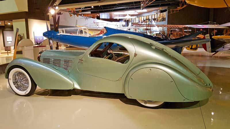 1938 Bugatti racer at EAA Aviation Museum in Oshkosh, WI
