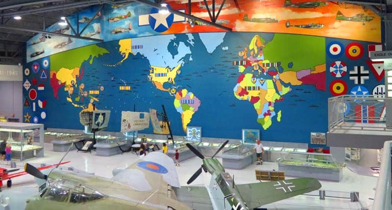 World map at the Oshkosh EAA Aviation Museum.