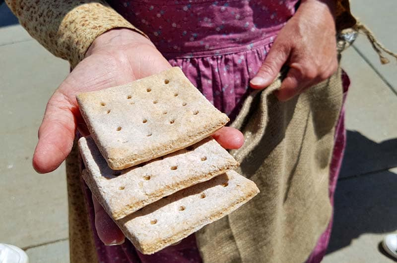 Hardtack or tack, eaten in the Old West.