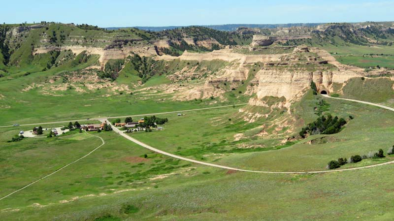 Scotts Bluff National Monument Visitor Center and valley
