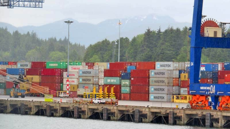 Intermodal contrainers being loaded in Prince Rupert, BC.