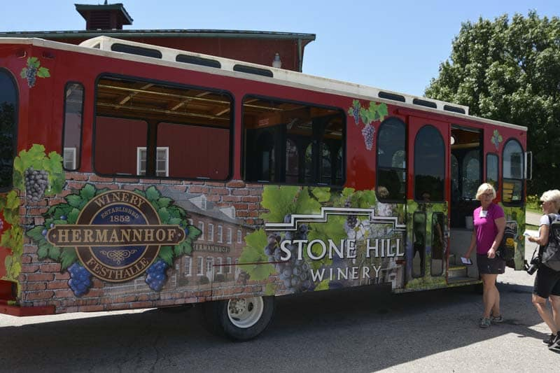 Wine tour bus in Hermann, Missouri