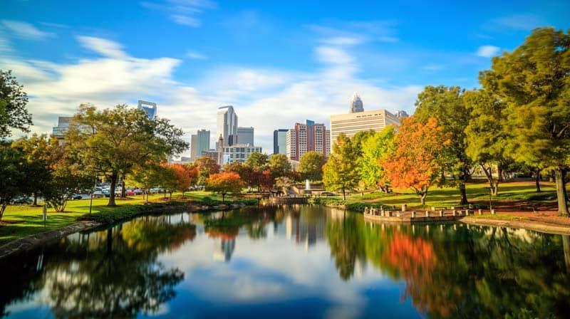 Skyline of Uptown Charlotte in North Carolina, USA, stock photo.