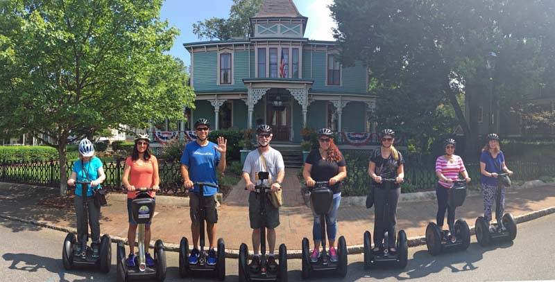 Segway tour of Charlotte. Photo by Rod at Charlotte NC Tours. Linda Aksomitis outside on the left.