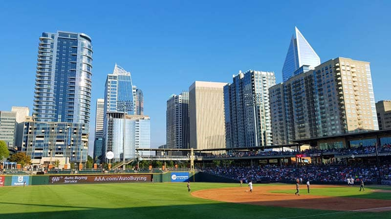 BB&T Ballpark in Charlotte, NC, with the Charlotte Knights playing the Lehigh Valley IronPigs.