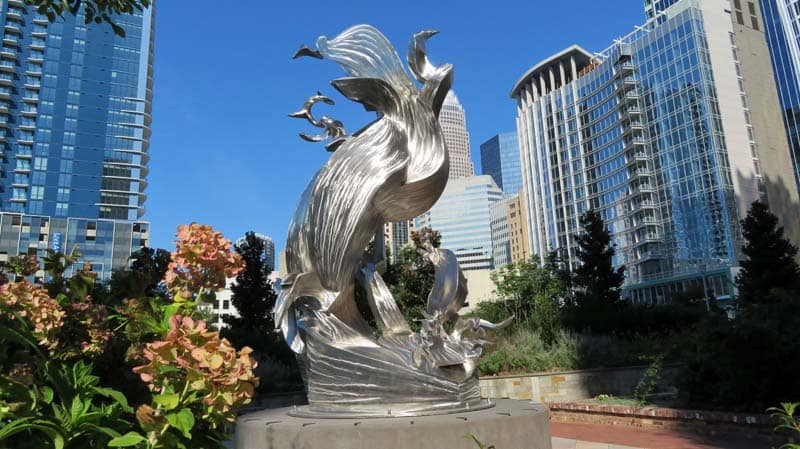 Spiral Odyssey - sculpture done by Richard Hunt for Romare Bearden Park in Charlotte, NC.