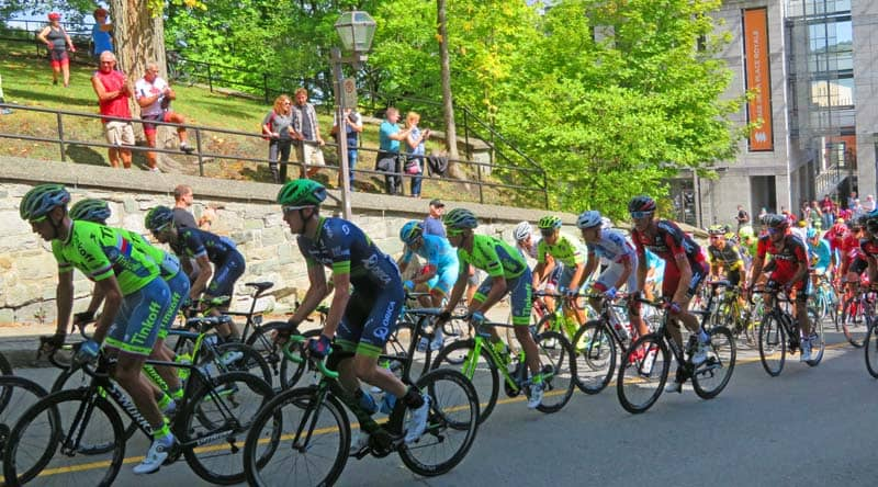 Participants in the Grand Prix Cycliste de Québec climbing one of the steepest hills on the course.