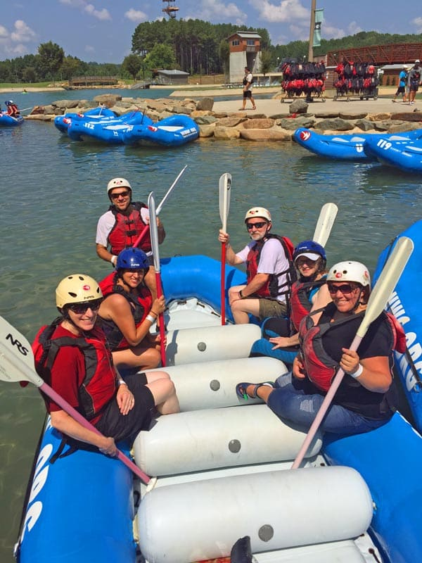 Group of travel writers rafting at the U.S. National Whitewater Center. Photo by Kristen Moore.