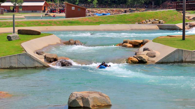 The U.S. National Whitewater Center has a man-made course for rafts and kayaks.