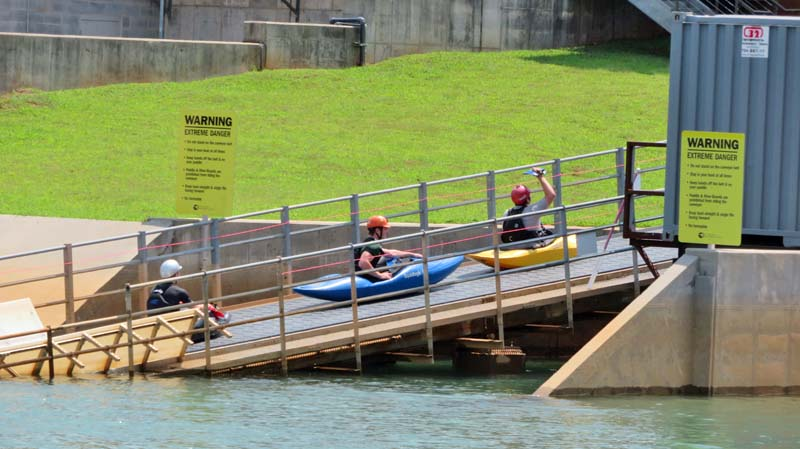 Ramp that takes rafts and kayaks from the end of the Whitewater Center course to the start, so they can begin again.