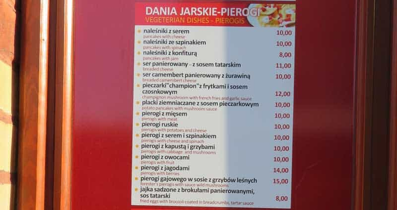Vegetarian & Pierogi menu at the Lunch TU Bar in Krakow, Poland.