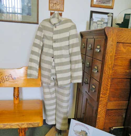 Striped inmate clothes at Wyoming Frontier Prison.