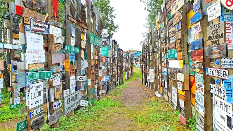 Rows of signs at the Sign Post Forest at Watson Lake, Yukon, Canada.