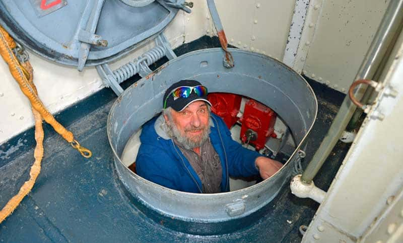 David Aksomitis coming up from the engine room on the USS Kidd in Baton Rouge, LA.