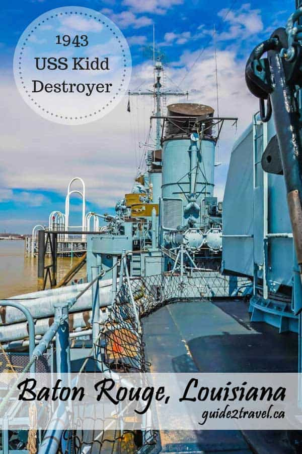 USS Kidd Fletcher class destroyer in Baton Rouge, Louisiana.