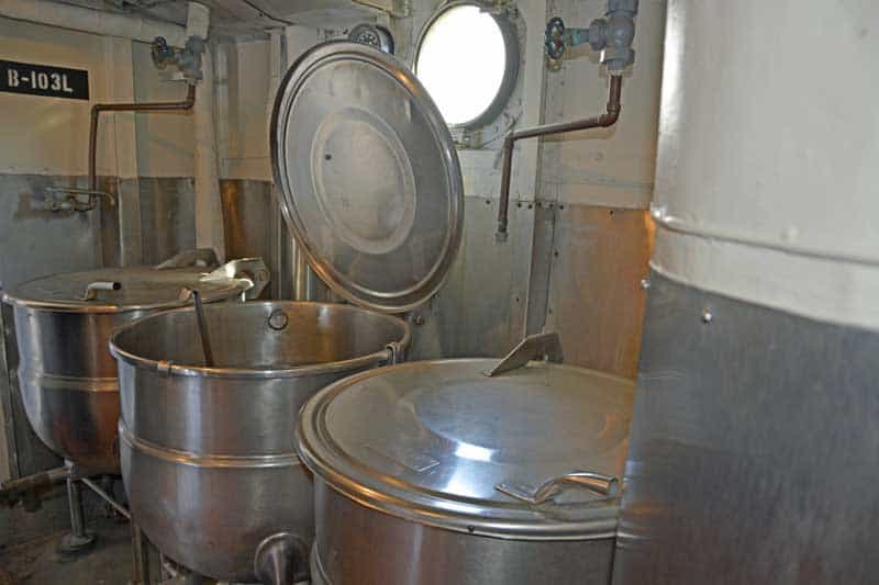 Cooking pots in the galley on the USS Kidd