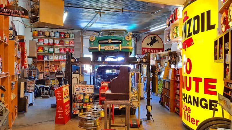 Step back in time with this fully stocked historic garage at the Frontier Auto Museum in Gillette, WY.