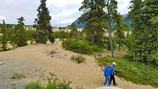 Visitors hiking at Carcross Desert in the Yukon