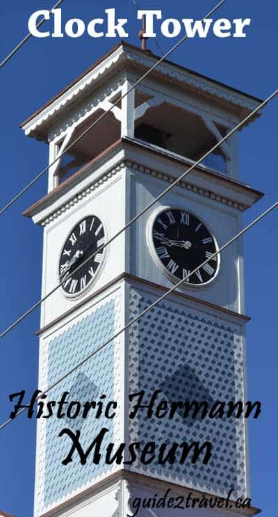 1890 Clock Tower on the Historic Hermann Museum in Hermann, Missouri.