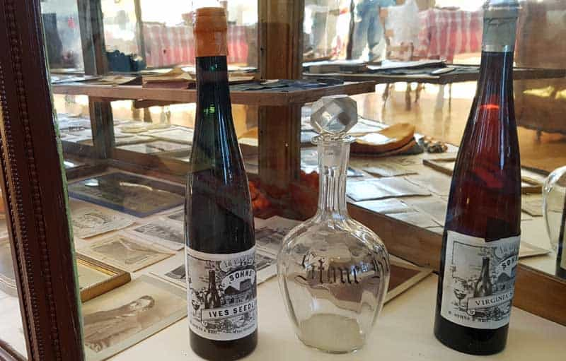 Local winery display in the Historic Hermann Museum in Hermann, Missouri.