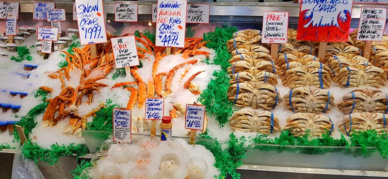 Fish for sale at Pike Place Market in Seattle