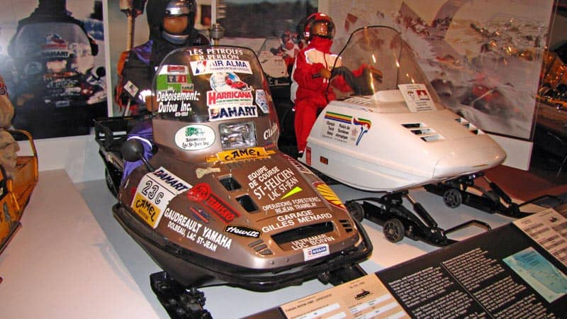 Snowmobiles at the Bombardier Museum in Valcourt, Quebec.