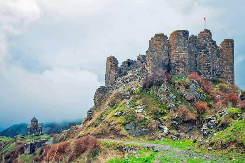 Amberd Fortress, Armenia, located on the southern slope of Mount Aragats.