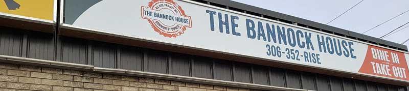 Sign for Bannock House in Regina, Saskatchewan.