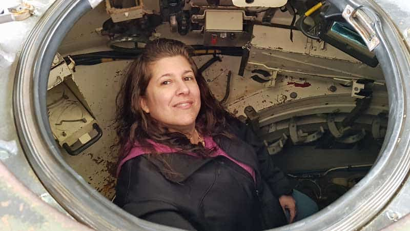 Our friend, Penny, in the cupola hatch on the Leopard tank at DriveTanks.com