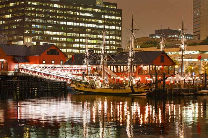 Boston Tea Party Museum at night.