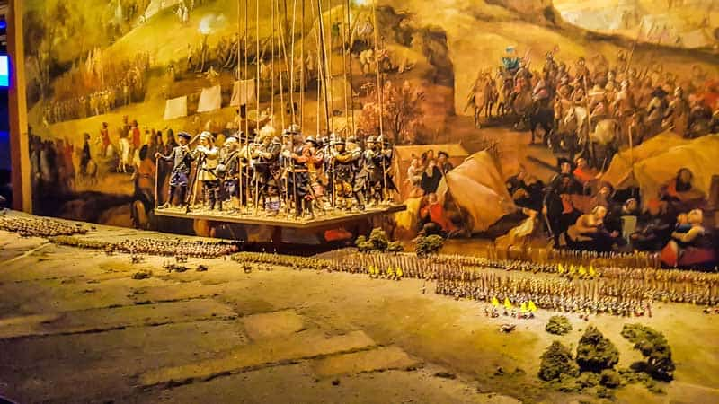 Diorama of early Swedish military battle.