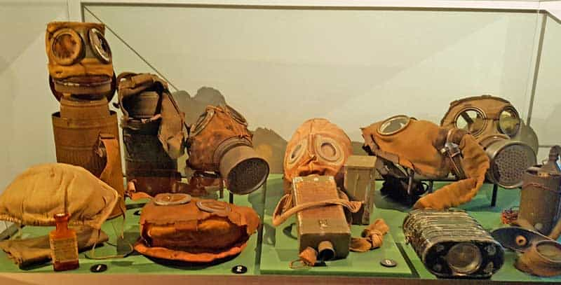Collection of various types of gas masks in the Army Museum in Stockholm.