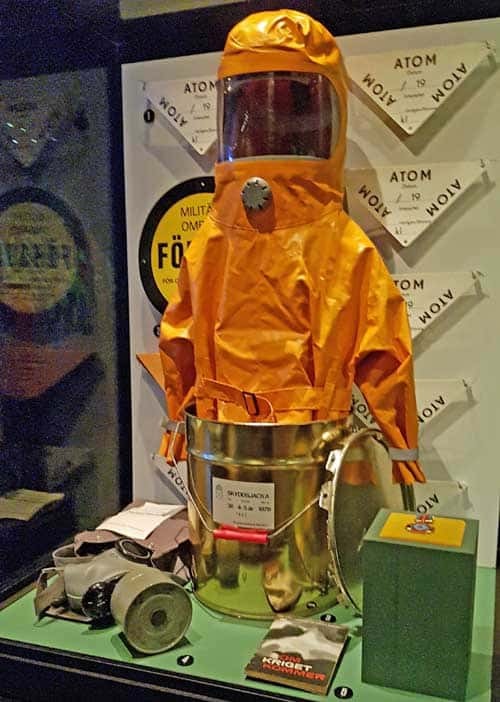 Gas protection suit for children - Type 36, in the Army Museum in Stockholm.