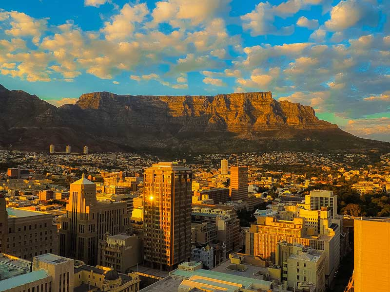 Table Mountain, one of the new 7 Wonders of Nature, in Cape Town, South Africa.