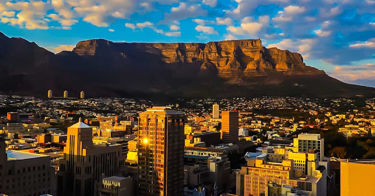 Cape Town, South Africa with Table Mountain in the background