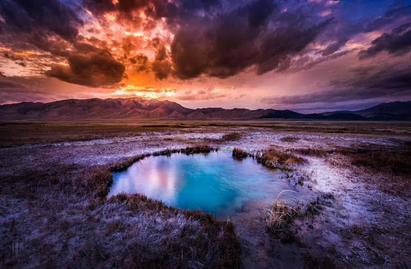 Ruby Valley Hot Springs in Nevada. Stock photo.