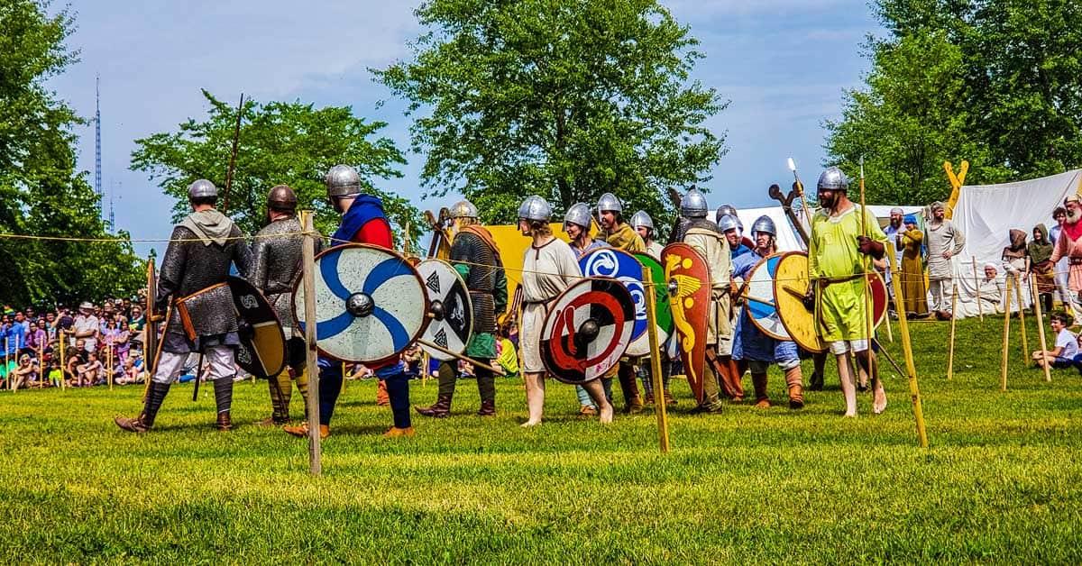 Start of the Viking battle at Gimli, Manitoba, Islendingadagurinn -- Icelandic Festival