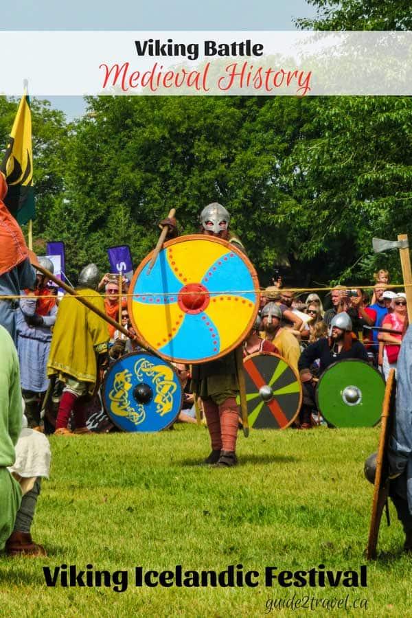 Medieval Viking battle at the Icelandic Festival of Manitoba in Gimli, Manitoba.