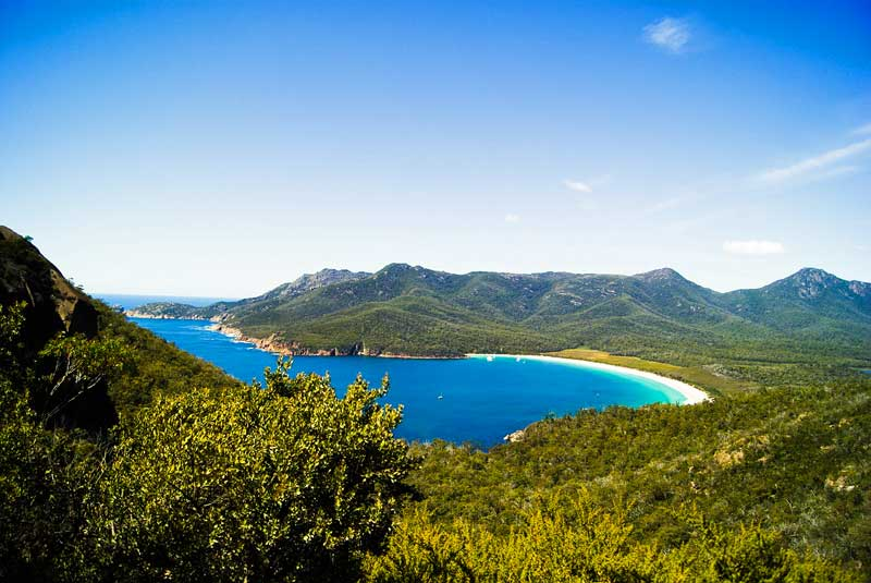 Wineglass Bay in Freycinet National Park in Tasmania, Australia.