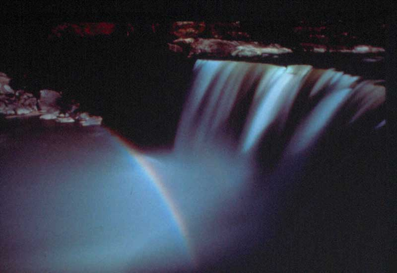 Rare reversed moonbow on Cumberland Falls. Photo credit: Kentucky Tourism.