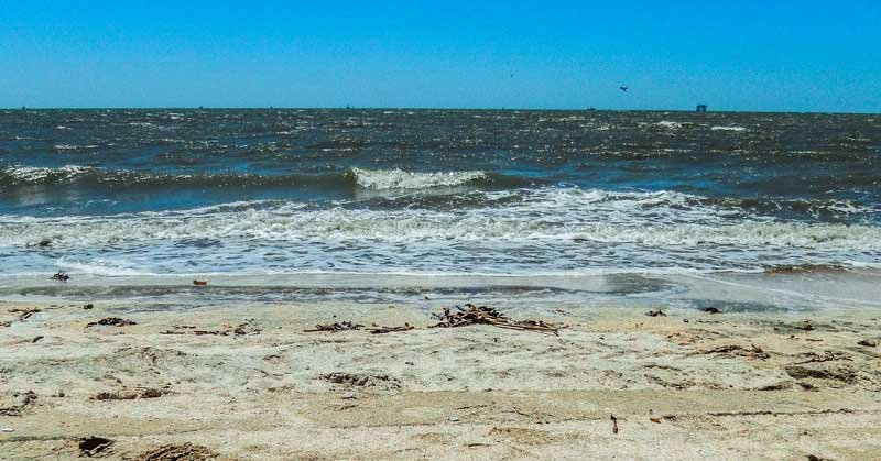 Beach scene on the Cajun Louisiana on the Creole Nature Trail in Louisiana.