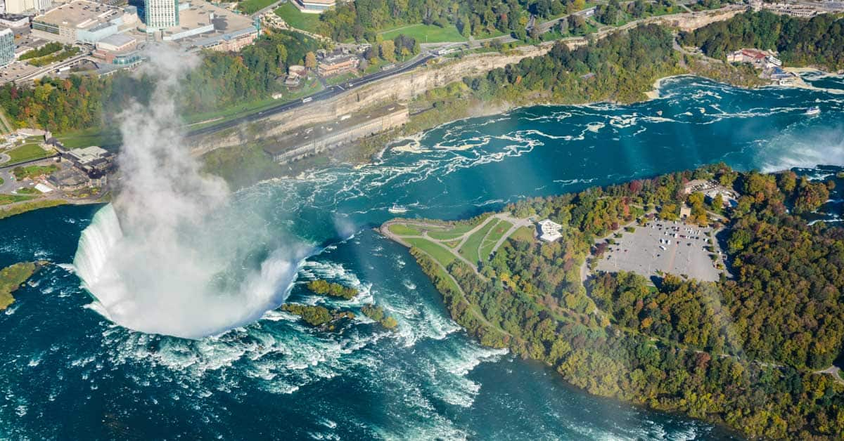 Horseshoe Falls from the helicopter tour at Niagara Falls. Photo by Linda Aksomitis