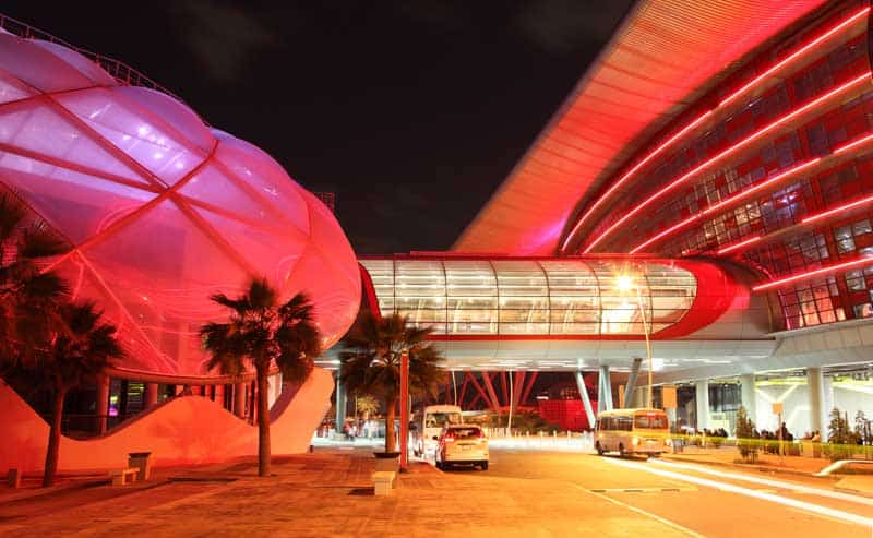 Exterior of the Ferrari World at Yas Island in Abu Dhabi, United Arab Emirates.