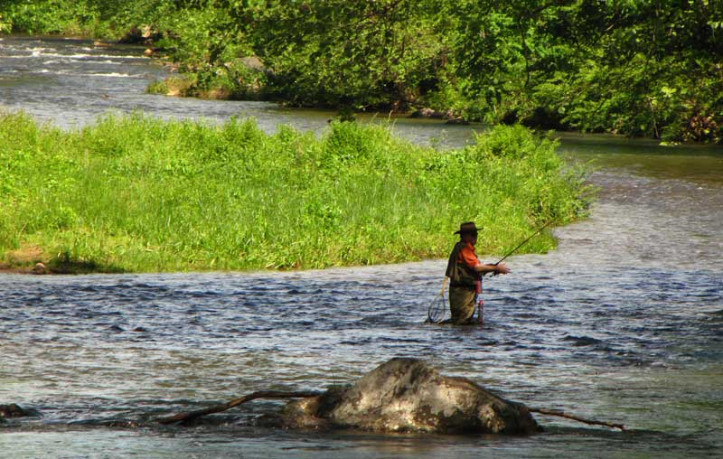 Fishing on the Chattahoochee River in Helen, Georgia.