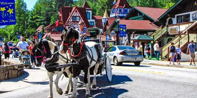 Horse and carriage ride through downtown, Helen, Georgia.