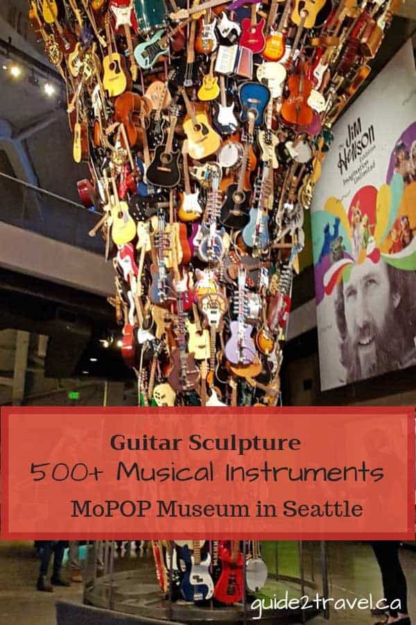 Guitar sculpture at MoPOP museum in Seattle, Washington