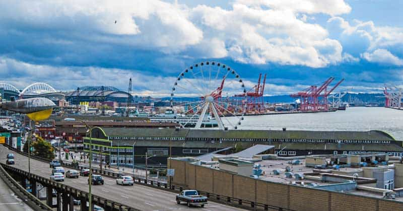 Seattle's waterfront is home to the Seattle Aquarium, the Seattle Great Wheel, Miners Landing, many shops and places to eat.