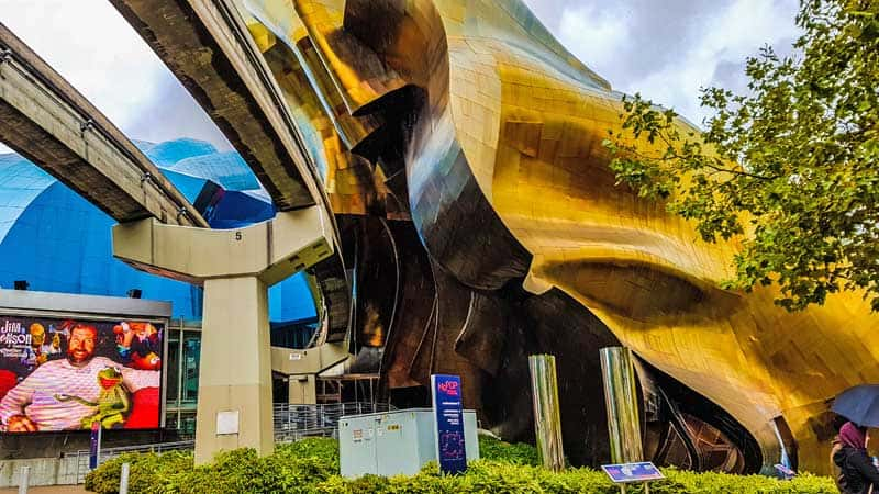 Architect, Frank Gehry, used shimmering sheet metal to make the Museum of Pop Culture resemble a smashed electric guitar.